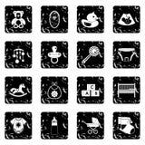 Icônes de garde d'enfants réglées, style grunge Photographie stock