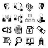 Icônes de gestion d'entreprise Images stock