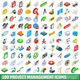 100 icônes de gestion des projets réglées, style isométrique illustration stock