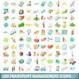 100 icônes de gestion des transports réglées, style de bande dessinée illustration libre de droits