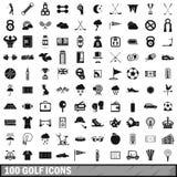 100 icônes de golf réglées, style simple Photos libres de droits