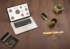 Icônes de graphique de graphique circulaire sur l'écran d'ordinateur portable avec des accessoires de bureau Photos stock