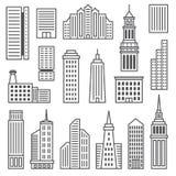 Icônes de gratte-ciel Silhouettes grises modernes de Image libre de droits