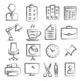 Icônes de griffonnage de bureau Illustration Libre de Droits