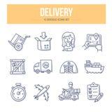 Icônes de griffonnage de la livraison illustration stock