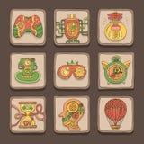 Icônes de griffonnage Thème de Steampunk Photographie stock