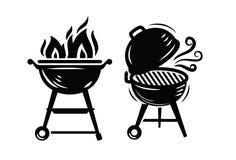 Icônes de gril de BBQ illustration de vecteur