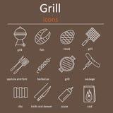 Icônes de gril Icônes grillant des accessoires Gril de four, accessoires de gril et produits Photographie stock libre de droits