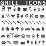 Icônes de gril ou de barbecue Illustration Stock