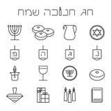 Icônes de Hanoucca réglées Ensemble de symbole juif de Hanoucca de vacances Image stock