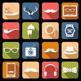 Icônes de hippie plates Photos libres de droits