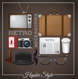 Icônes de hippie sur le fond brun Photographie stock libre de droits