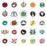 Icônes de hippie sur les cercles colorés Image stock