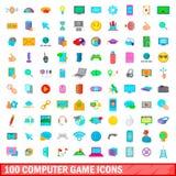 100 icônes de jeu d'ordinateur réglées, style de bande dessinée Images stock