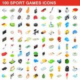 100 icônes de jeux de sport ont placé, le style 3d isométrique Image libre de droits