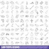 100 icônes de jouets réglées, style d'ensemble illustration de vecteur
