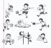 Icônes de joueur de sport de griffonnage Images libres de droits