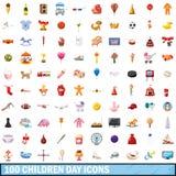 100 icônes de jour d'enfants réglées, style de bande dessinée Photographie stock