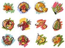 Icônes de jour de thanksgiving dans le style de croquis Photo stock