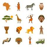 Icônes de l'Afrique réglées illustration stock