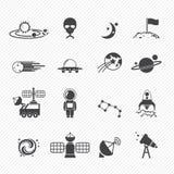 Icônes de l'espace Image stock