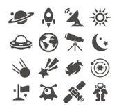 Icônes de l'espace Photo stock