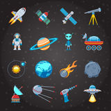 Icônes de l'espace et de l'astronautique réglées illustration libre de droits