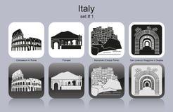 Icônes de l'Italie Photos stock