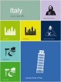 Icônes de l'Italie Images libres de droits