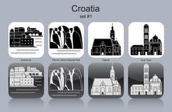Icônes de la Croatie illustration stock