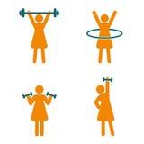 Icônes de la forme physique des femmes réglées Logo de forme physique Images stock