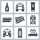 Icônes de la Grande-Bretagne, Londres réglées Images stock