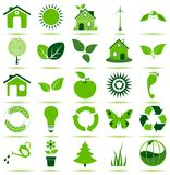 Icônes vertes d'Eco Images libres de droits