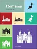 Icônes de la Roumanie illustration stock