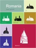 Icônes de la Roumanie illustration de vecteur
