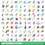 100 icônes de la science réglées, style 3d isométrique Photos stock