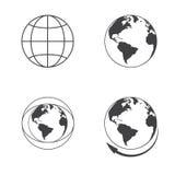 Icônes de la terre de globe réglées sur le fond blanc Photo stock