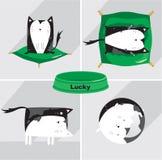 icônes de la vie de chats réglées Image stock