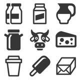 Icônes de lait réglées Photo stock