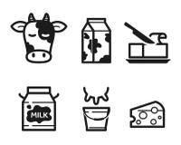 Icônes de laiterie illustration stock
