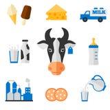 Icônes de laiterie réglées - style plat Photo libre de droits