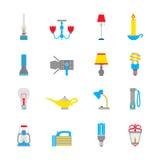 Icônes de lampe-torche et de lampes Photos stock