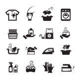 Icônes de lavage de blanchisserie réglées Photographie stock