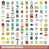 100 icônes de lecteur réglées, style plat illustration stock
