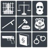 Icônes de loi et de justice blanches sur le noir Images stock