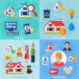 Icônes de loyer et de location réglées illustration de vecteur