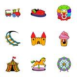 Icônes de Luna Park réglées, style de bande dessinée Illustration Stock