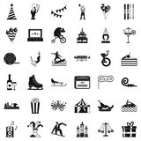 Icônes de Luna Park réglées, style simple illustration stock