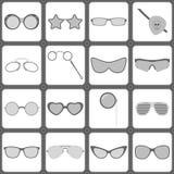 Icônes de lunettes de soleil et en verre Image stock
