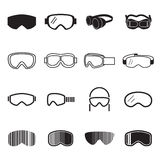 Icônes de lunettes Icônes de verres de sûreté Illustration de Vecteur